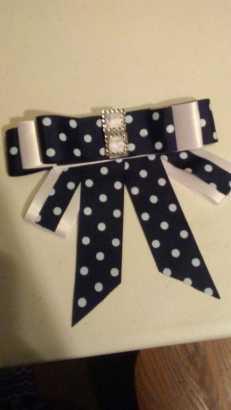 Delana Pringe Black & Ivory Polka Dot Pearl Crystal Tie